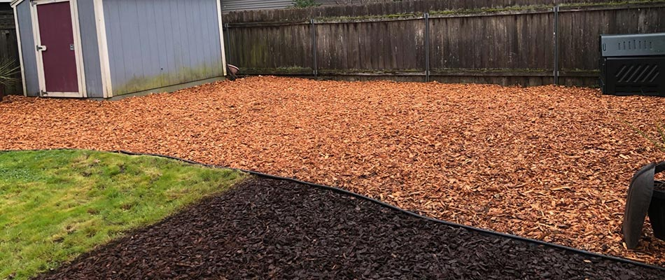 Mulch helps this yard in the Portland, OR area get a new look.