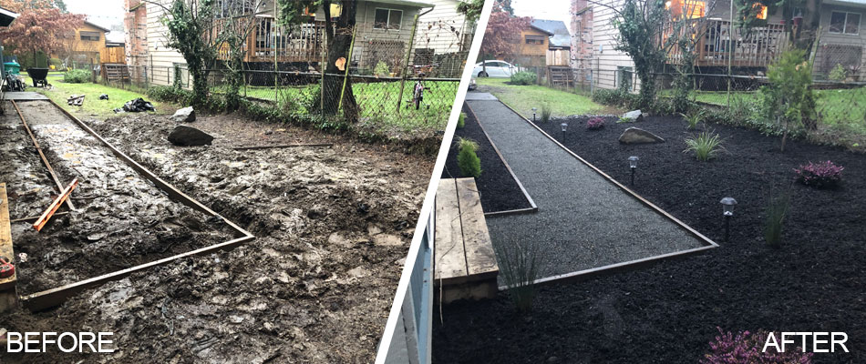 Before and after photo of custom landscape bed and walkway in Beaverton, OR.