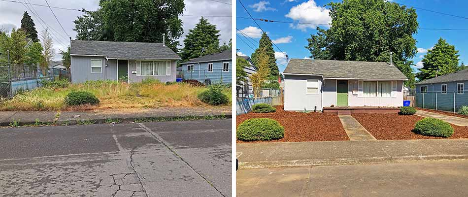 Before and after photo of a yard cleanup in Clackamas, OR.