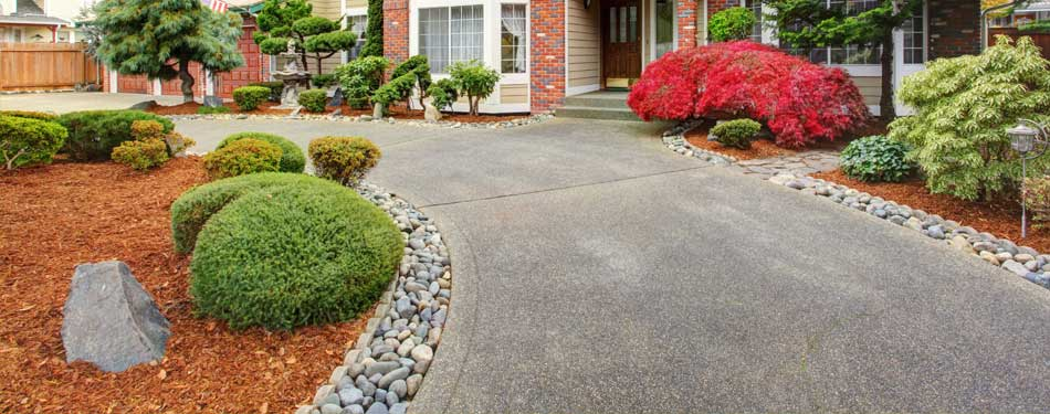 Mulch and rock installation at a residential property in Happy Valley, OR.