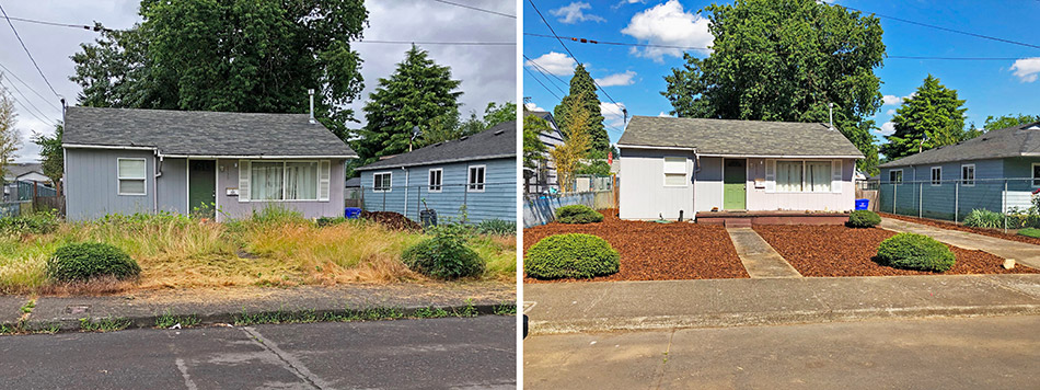 Yard cleanup before and after photo from Happy Valley, OR.