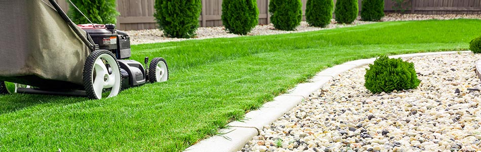 Push mowing a backyard in Troutdale, OR residence.
