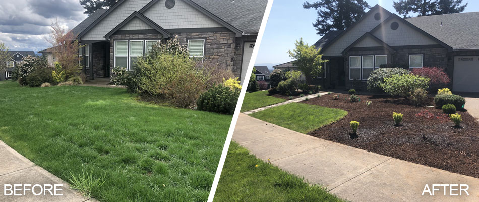 Front lawn and landscape cleanup service at a home in Troutdale, OR.