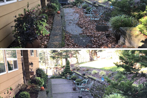 Cleaning up fall leaves with a leafblower in Troutdale, OR.