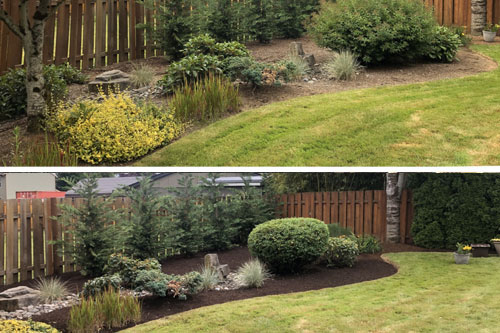 New mulch installation in front of a home in Troutdale